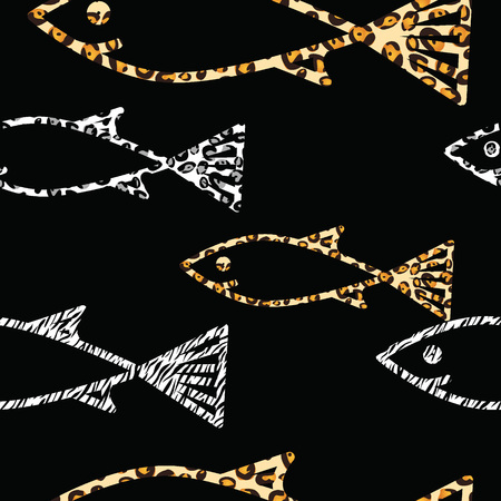 life style: Seamless pattern with wild life style colored fishes