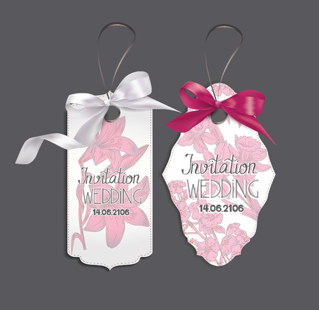 Set of elegant cards with pink silk ribbons and flowers on the background