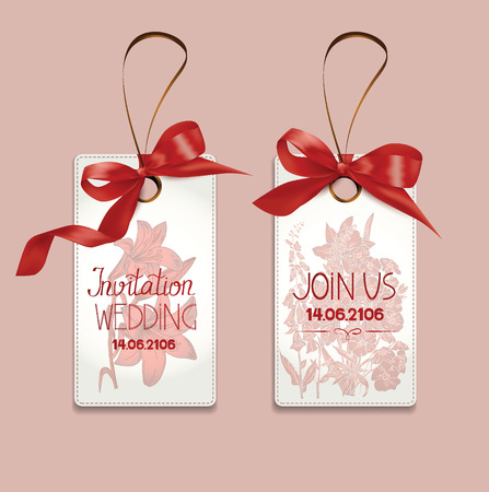 Set of elegant invitation wedding cards with silk ribbons and flowers