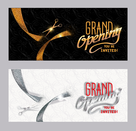 Set of grand opening banners with textured gold and silver cut ribbon