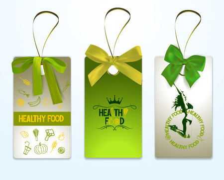 Set of healthy food tags with green silk ribbons Stock Illustratie