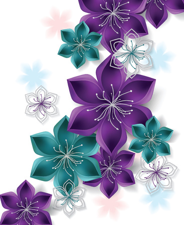 Colorful vector background with big flowers