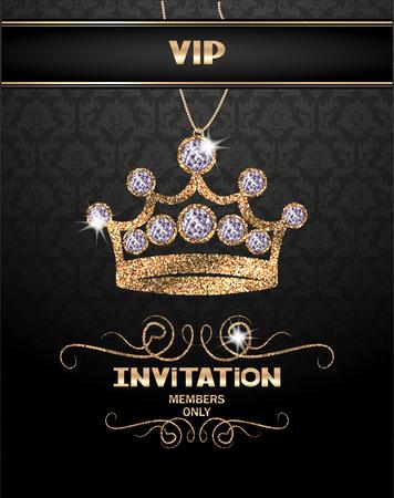 다이아몬드와 추상 반짝이는 왕관과 함께 VIP 초대 카드 일러스트