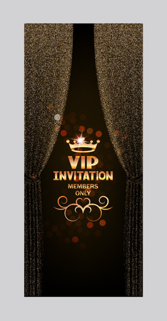 black textured background: VIP invitation card with abstract sparkling curtains