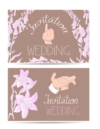 Wedding invitation cards with hand drawn bride and groom hands and flowers Çizim