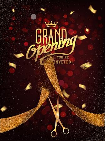 Grand Opening-Karte mit goldenen abstrakte Farbband und Gold Schere auf dem dunkelroten Hintergrund Standard-Bild - 55939242