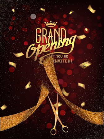 Grand Opening card with gold abstract ribbon and gold scissors on the dark red background