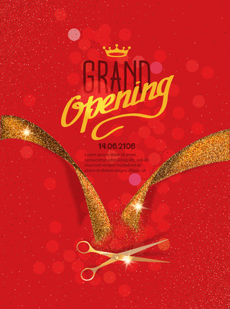 Grand Opening card with gold abstract ribbon and gold scissors on the red background Illustration