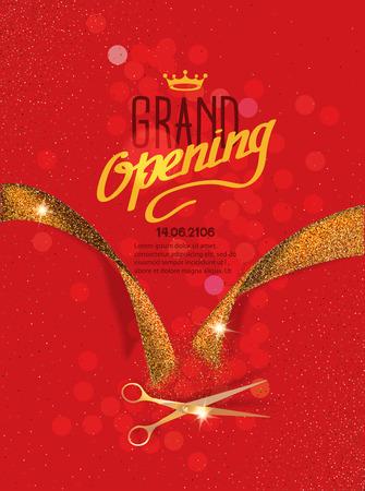 Grand Opening-Karte mit goldenen abstrakte Farbband und Gold Schere auf dem roten Hintergrund Standard-Bild - 55939243