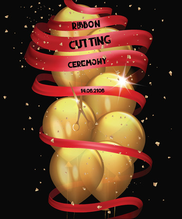 commemorate: Grand opening card with gold air balloons, confetti and long red ribbon Illustration