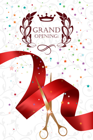 Grand opening card with gold scissors, confetti and red ribbon Illusztráció