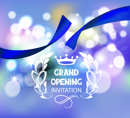 Grand opening invitation card with blue ribbon and bokeh background