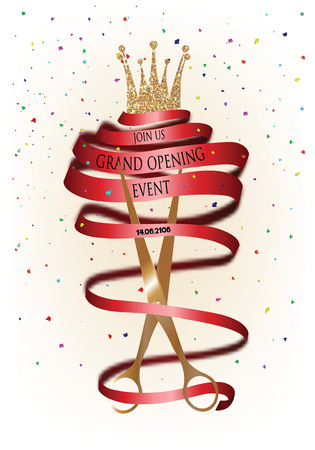 Grand opening invitation card with long red ribbon and scissors