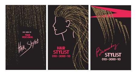 hair stylist: Hair stylist business cards with abstract gold hair and scissors Illustration