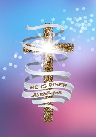 Hij is opgestaan en Hallelujah vector achtergrond met geweven kruis en lange lint