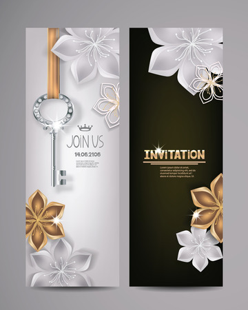 Invitation card with key and floral background. Vector Illustration