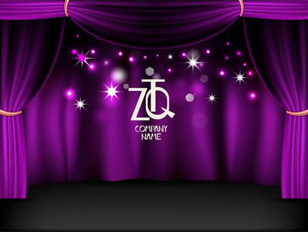 Purple shiny stage. Vector background Vettoriali