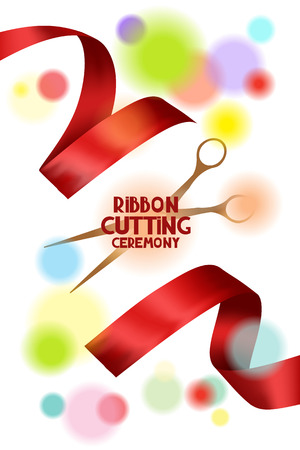 ribbon cutting: Ribbon cutting ceremony card with scissors red ribbons and blur background Illustration