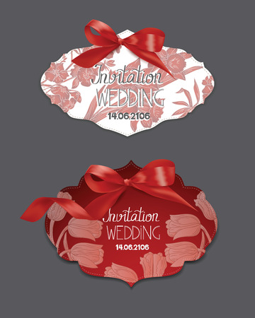 Set of elegant cards with silk ribbons and flowers on the background