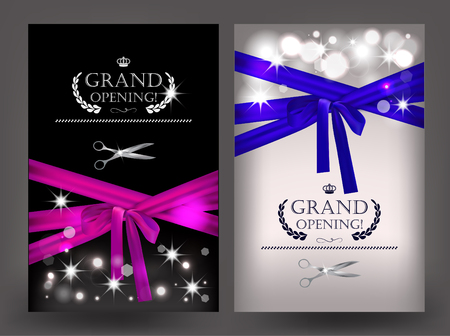 Set of grand opening cards with long ribbons