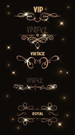 event party festive: Set of vintage gold shiny floral design elements