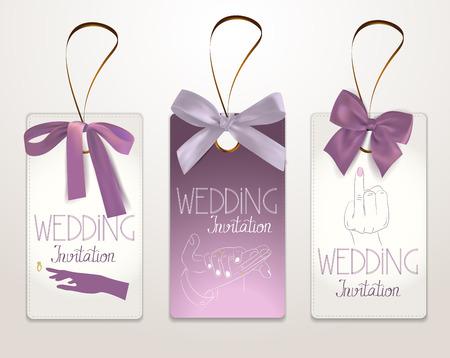 花嫁と新郎の手で結婚式招待状