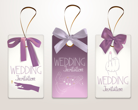 Wedding invitation cards with bride and groom's hands