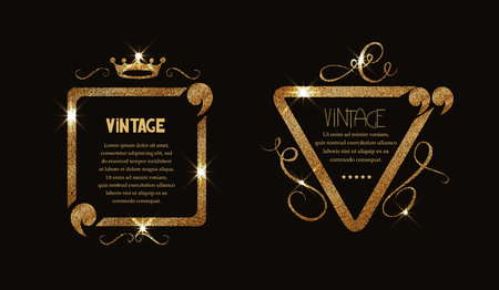 shiny gold: shiny gold vintage frame with flourishes and quotes