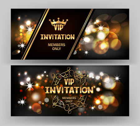 VIP invitation card with abstract sparkling background