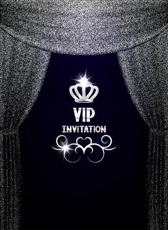 テクスチャの輝くシルバー カーテン VIP 招待状カード  イラスト・ベクター素材