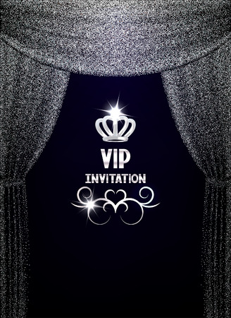 VIP invitation card with textured sparkling silver curtains