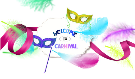 carnival costume: Carnival background with bright colorful feathers and masks Illustration
