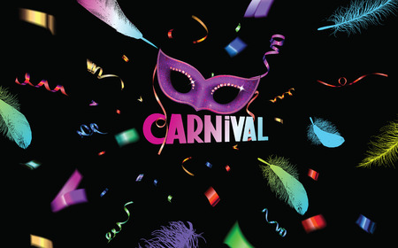 ticker: Carnival background with bright colorful feathers, ticker tape, confetti and mask Illustration