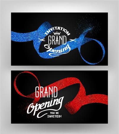 Grand opening Karten mit Punktierung Bändern auf dem dunklen Hintergrund Standard-Bild - 57263071