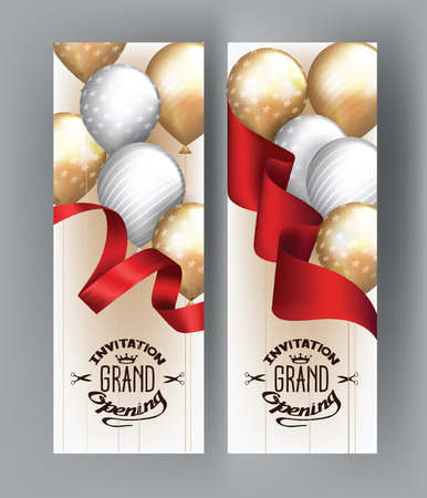 businness: Grand opening cards with red ribbon and gold and silver air balloons