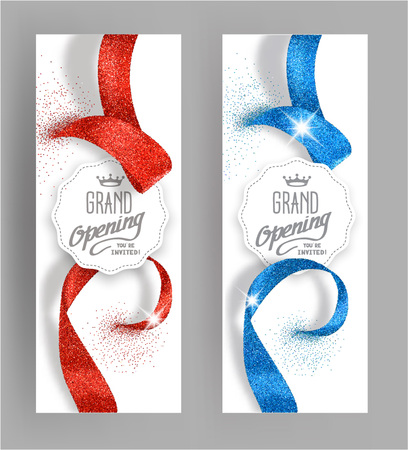 Grand opening invitation vertical cards with abstract shiny ribbons Ilustração