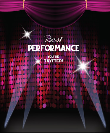 Invitation card with purple curtains on the background and spotlights beams  イラスト・ベクター素材