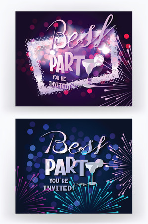 elegant party: Vector party banners with abstract frame and fireworks Illustration