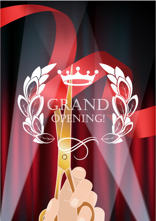 opening: curtains, red ribbon and hand with scissors. Grand opening illustration Illustration