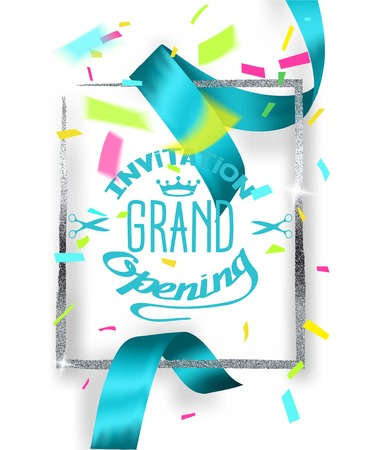 GRAND OPENING BACKGROUND WITH BLUE CUT SILK RIBBON AND SILVER FRAME AND CONFETTI