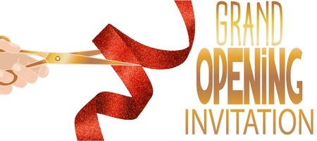 Grand opening invitation card with red textured ribbon and hand with scissors