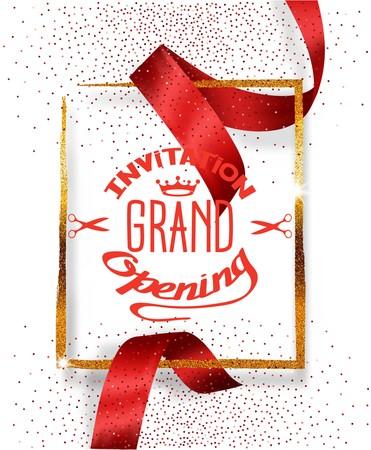 グランド オープンの赤と赤の背景カット絹のリボンとゴールド フレーム