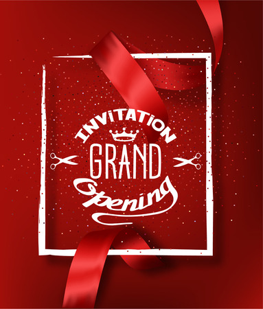 GRAND OPENING RED BACKGROUND WITH RED CUT SILK RIBBON