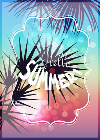 Hello summer tropical background with silhouettes of palm trees