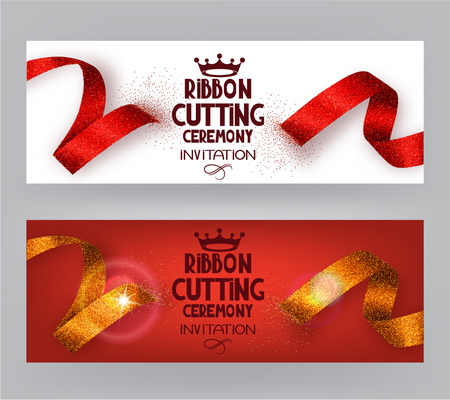 ribbon cutting: Ribbon cutting ceremony banners with abstract ribbons and abstract hand with scissors