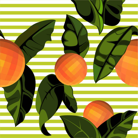Seamless pattern with oranges and orange tree leaves