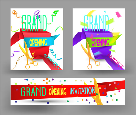 ticker: Set of Grand Opening colorful flat vector cards with paper ribbon, confetti, ticker tapes Illustration