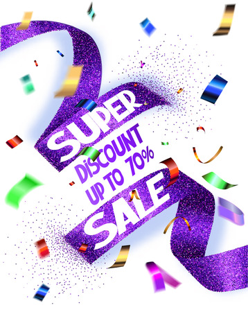 Super sale vector illustration with cut textured ribbon and flying confetti
