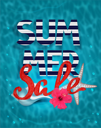 sea water: Summer sale banner with water background and sea design elements
