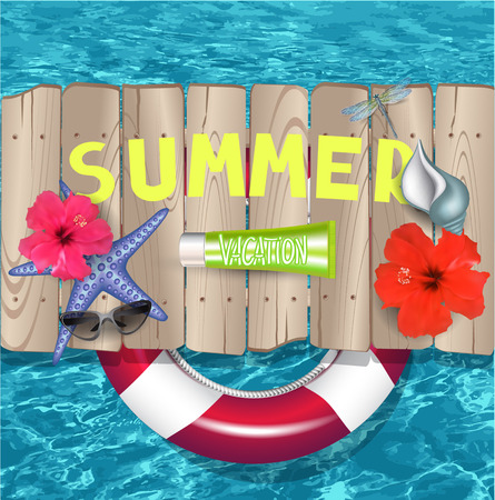 Summer vacation background. Vector illustration